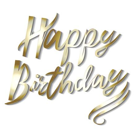 Happy birthday words in gold handmade calligraphy