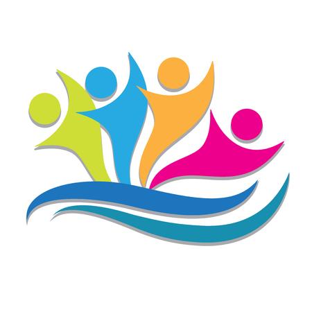Teamwork partners colorful people logo vector image