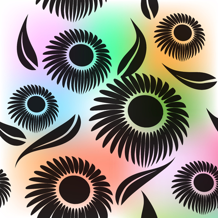 Seamless black flowers vector image background