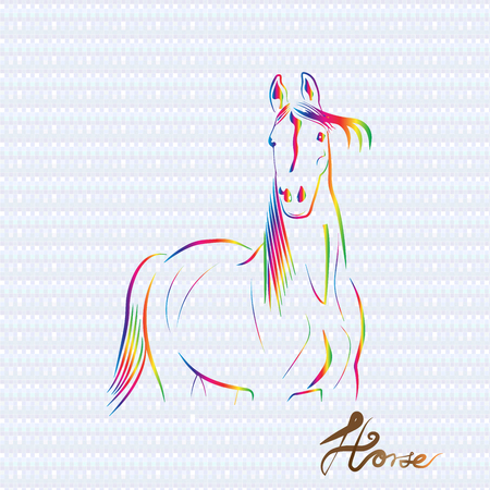 Horse stylized drawing in rainbow color logo icon vector Illustration