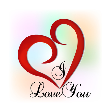 I Love you word with swirly heart and colorful background