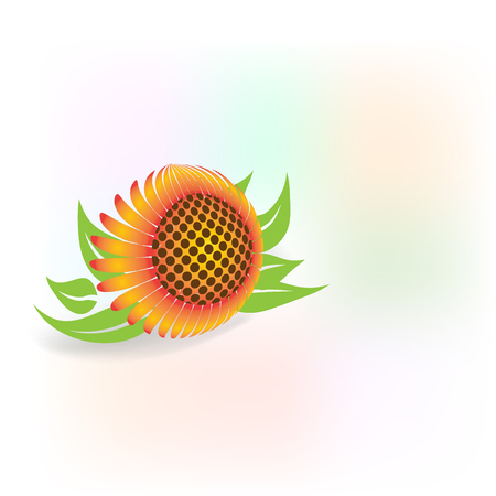 Sunflower with copy space  icon logo vector image template