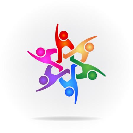 Teamwork Logo. Concept of community union goals solidarity partners children vector graphic.