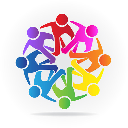 Teamwork Logo. Concept of friendship community union goals solidarity partners children vector graphic.