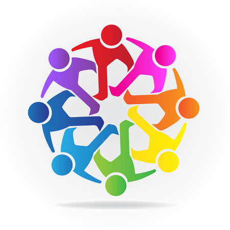 Teamwork Logo. Concept of friendship community meeting union goals solidarity partners children vector graphic. This logo template also represents colorful kids playing together holding hands in a circle shape union of workers employees