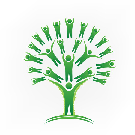 Tree teamwork group of people logo vector image