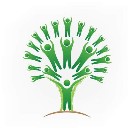 Green tree teamwork people logo vector image
