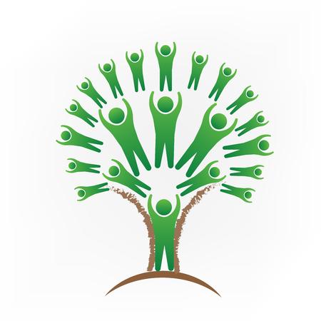 Tree people teamwork logo vector image Illustration