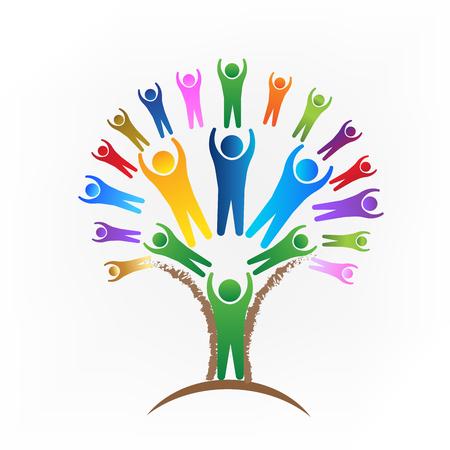 Drzewo wektor logo ludzi pracy zespołowej