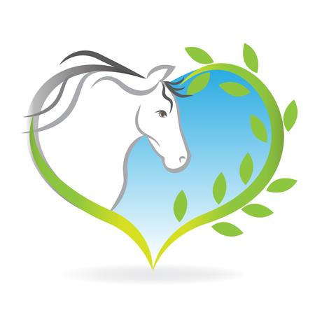 Horse inside of a love heart leafs logo vector image Ilustração