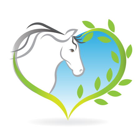 Horse inside of a love heart leafs logo vector image Illustration