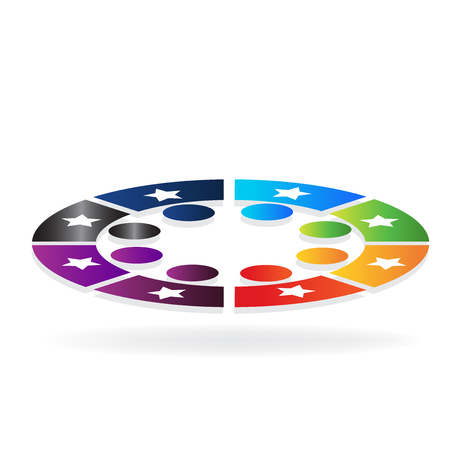 Colorful star teamwork in a circle icon