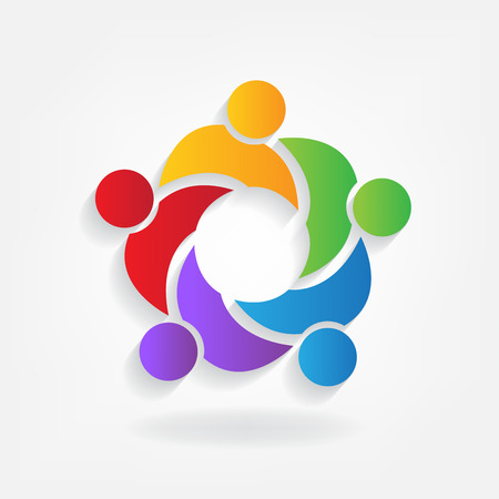 Logo of teamwork with businessmen forming a circle.