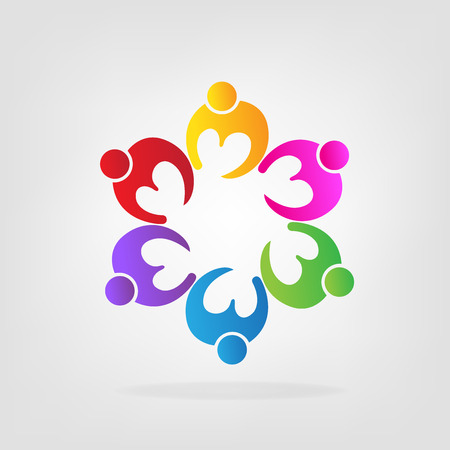 Icon charity friendship people, love heart vector illustration.