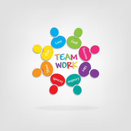 Logo teamwork meanings people around in a meeting icon vector
