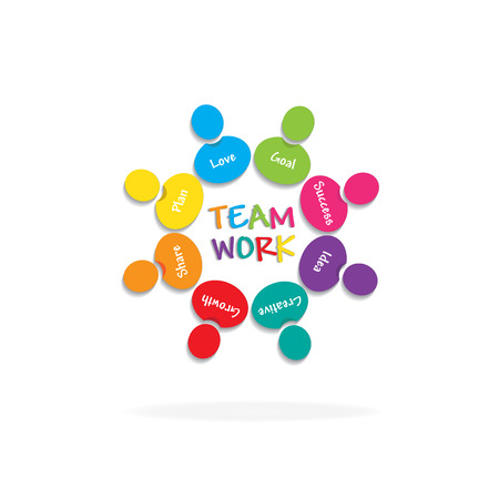 Logo teamwork meaning people icon vector Çizim