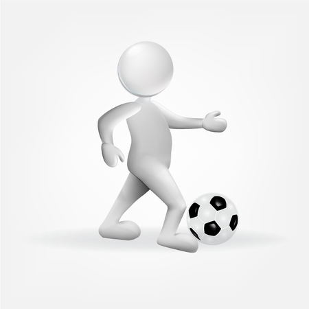 3D white human with a soccer ball icon vector.