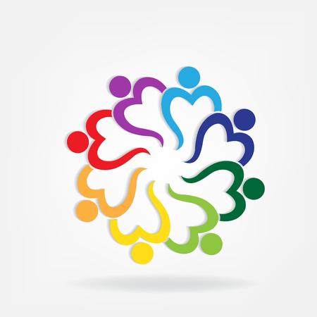 La gente del lavoro di squadra ama l'immagine di vettore di logo di forma del cuore
