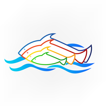 Colored fish and sea identity business card icon