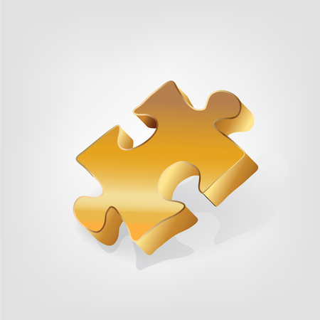 Gold piece of puzzle business logo icon.