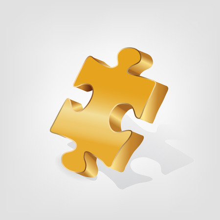 Golden piece of puzzle. Stock Vector - 96205481