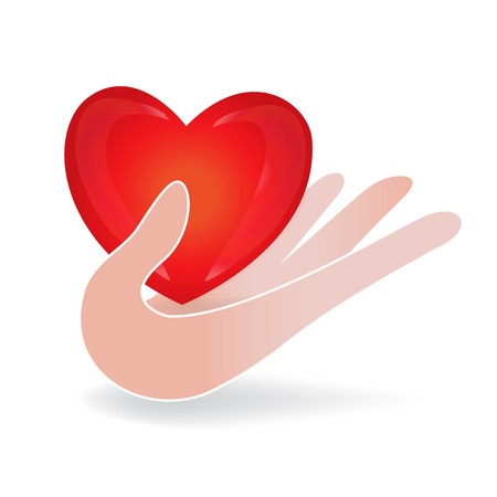 Hand care a love heart logo icon vector Illustration
