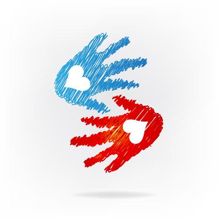 Handshake love hands icon vector illustration Illustration