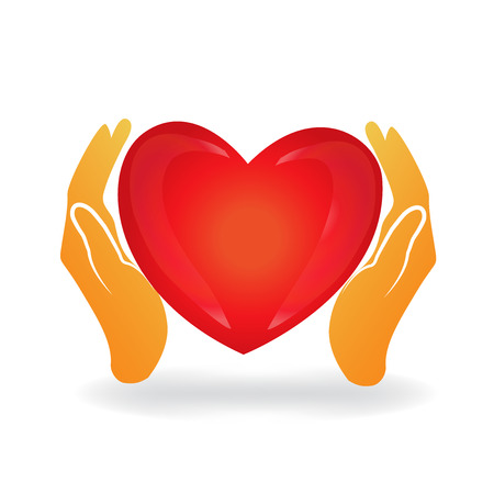 Hands care a love heart logo icon vector