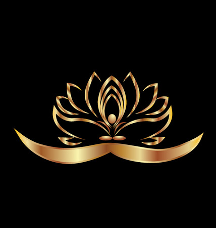 Gold lotus yoga man logo vector on black background