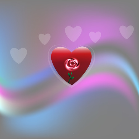 Love heart with a rose and wavy background template Vectores