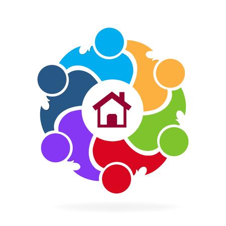 Circular teamwork design image illustration