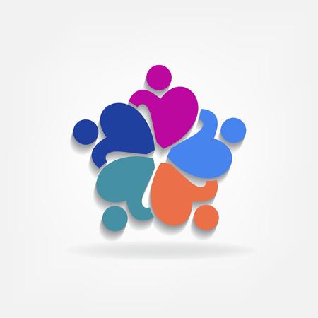 Teamwork charity people in a hug identity id card icon logo vector image