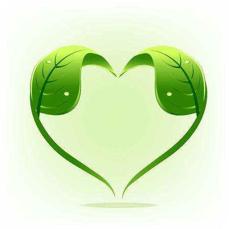 Healthy nature leafs love symbol logo vector image