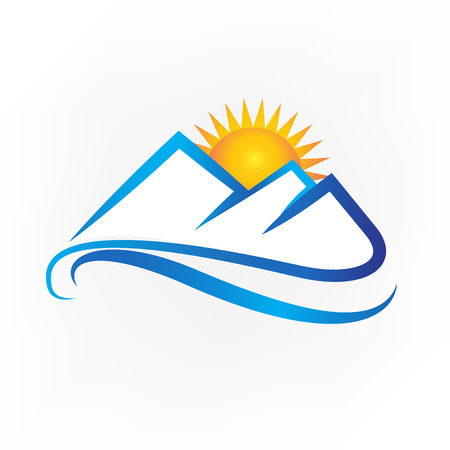 Mountains and sun icon logo vector Illustration