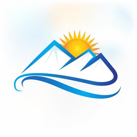 Mountains icon logo vector