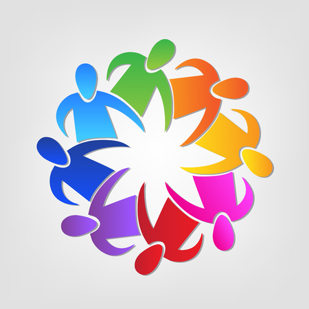 Teamwork unity people identity business id card icon Illustration