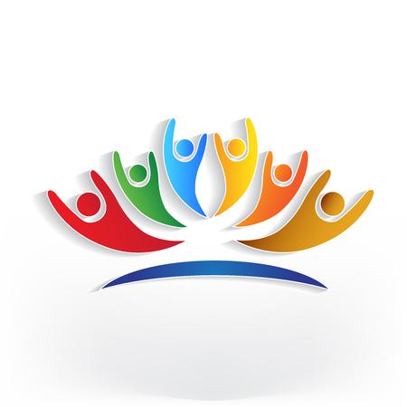 Optimistic group of people identity business card icon logo