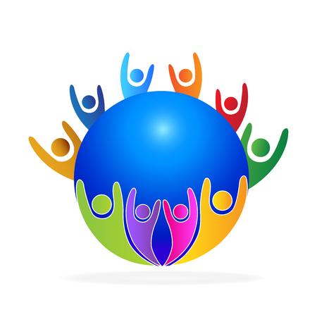 Teamwork people around world identity business card