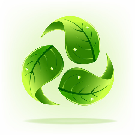 Green leafs with drop water concept of recycle symbol logo icon Illustration