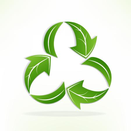 Green leafs arrow recycle symbol logo icon Vectores