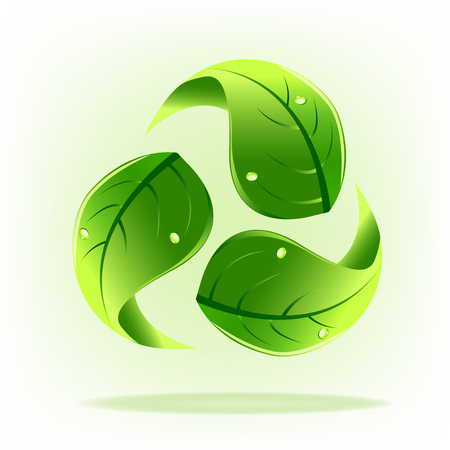 Green leafs recycle symbol logo icon Vectores