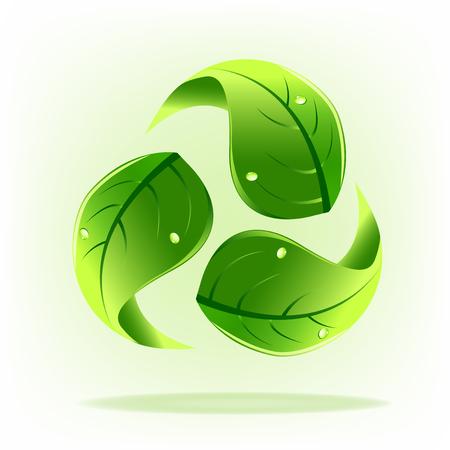 Green leafs recycle symbol logo icon Illustration