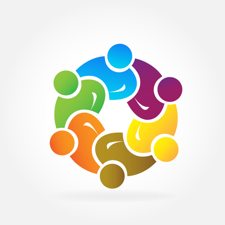 Icon teamwork business people unity partners illustration.
