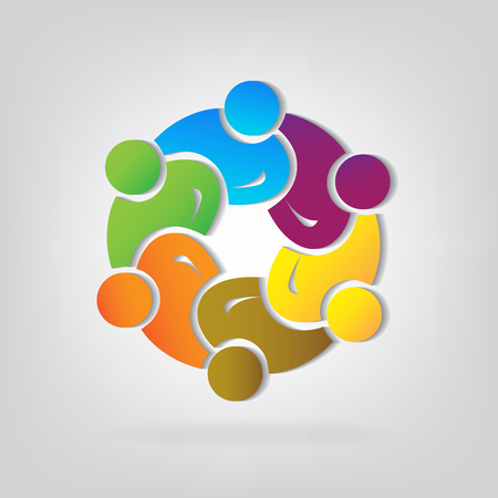 Teamwork of business people concept icon