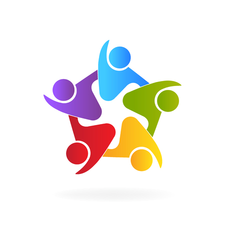 Teamwork embraced people id cards logo icon