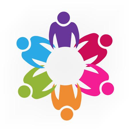 Teamwork unity people id cards logo icon Illustration