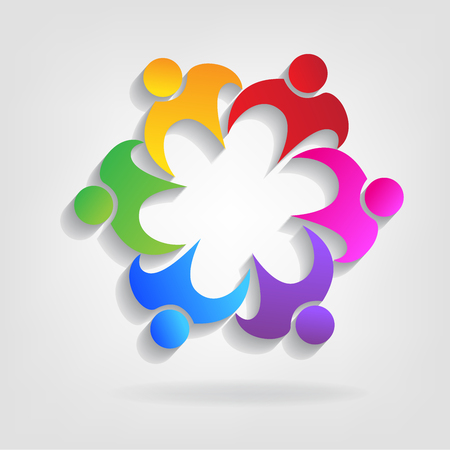 Teamwork embraced people identity business card logo icon  イラスト・ベクター素材