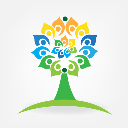 Tree unity business people logo id card icon vector