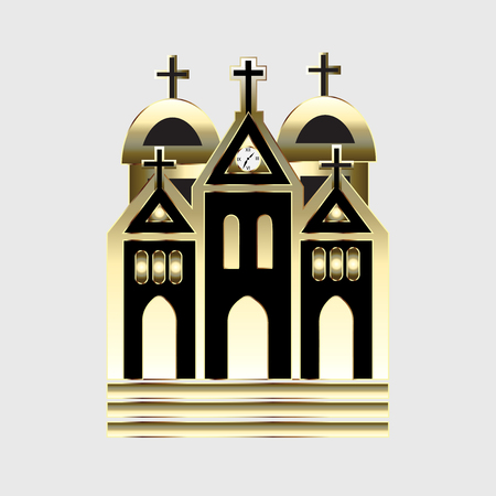 Church gold vector image logo icon Illustration