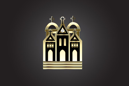 Church image in gold and black  Illustration. Illustration